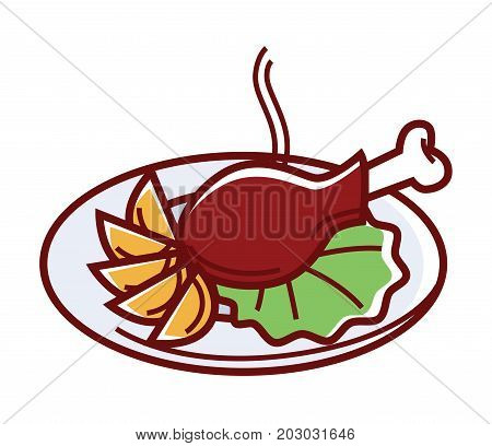 Hot fried chicken with pieces of potatoes and salad leaf on plate isolated cartoon flat vector illustration on white background. Fast food meal that consists of delicious poultry and garnish.