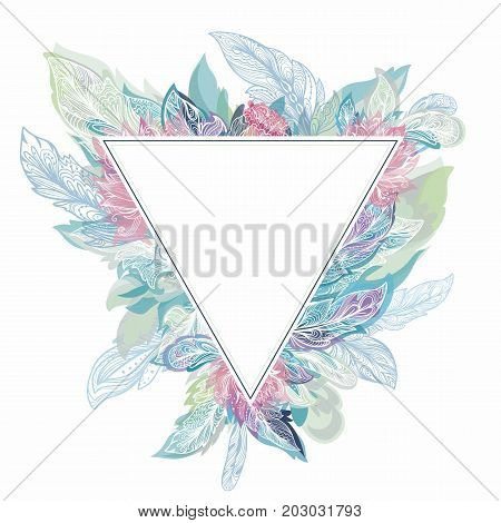 Vintage card template with pale blue, pink and green feathers in sketch tribal style on white background