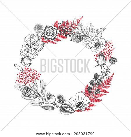 Vector wreath of autumn leaves and fruit in sketch style. Beautiful round wreath of black and white leaves, berries and branches. Decor for invitations, greeting cards, posters.
