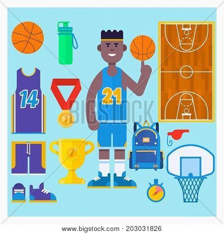 Basketball player and basketball icon set.Simple basketball vector elements. Flat vector illustration