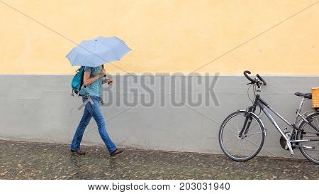 Mysterious Girl Walking With Umbrella - Selective Focus