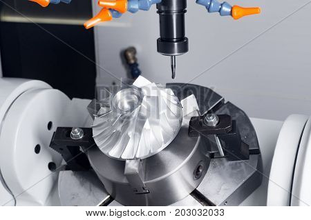 Cnc milling machine parts during manufacture of the impeller