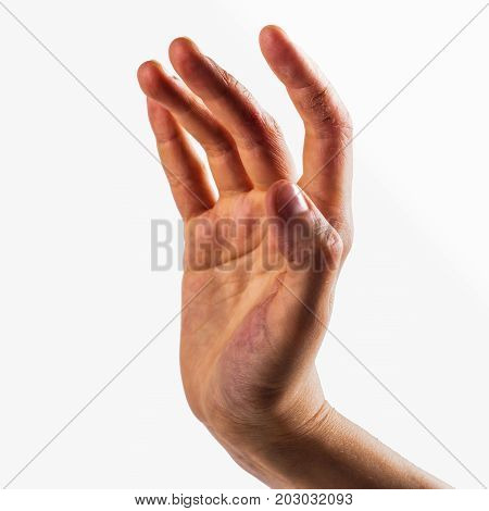 Female's hand with very dry skin. Painful cracks on fingers. Eczema or dermatological problems concept. Space for text