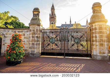 Sunset view on the gates and Peace palace the seat of international law in Haag city, Netherlands