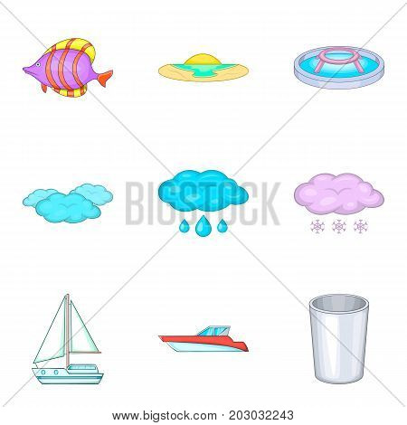 Fluid icons set. Cartoon set of 9 fluid vector icons for web isolated on white background