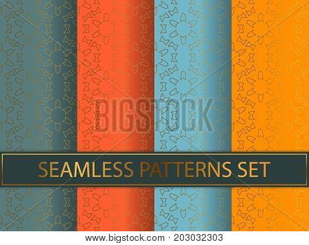 Set Of Seamless Patterns In Golden Color On Colorful Backgrounds. Templates With Luxury Foil. Abstra