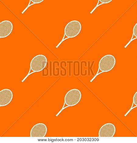 Tennis racket pattern repeat seamless in orange color for any design. Vector geometric illustration