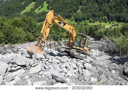Landslide At Engelberg On The Swiss Alps