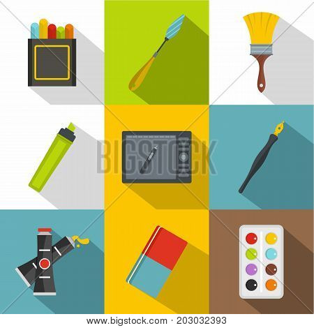 Drawing tools icon set. Flat style set of 9 drawing tools vector icons for web design