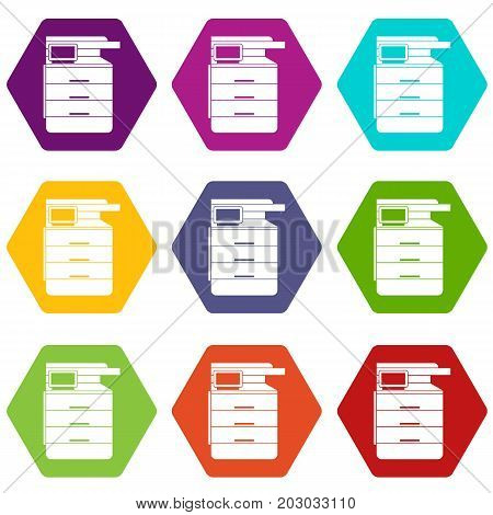 Multipurpose device, fax, copier and scanner icon set many color hexahedron isolated on white vector illustration
