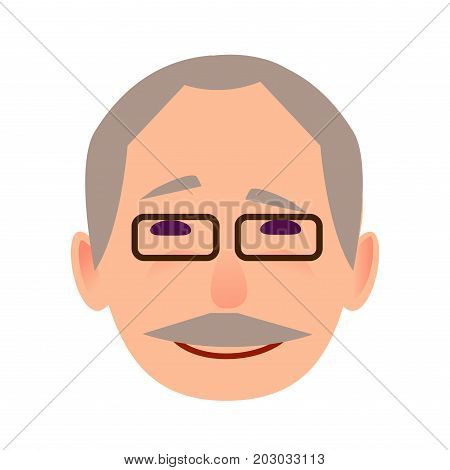 Laughing old man face icon. Grey-haired, mustached grandpa in glasses with happy facial expression flat vector isolated on white background. Pensioner cartoon portrait for user avatar illustration
