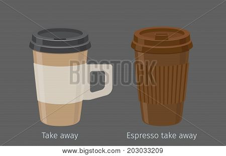 Espresso in paper cups with plastic lid and handle flat vector. Sweet invigorating drink with caffeine. Tasty coffee in take away disposable containers illustration for coffee house, cafe menus design