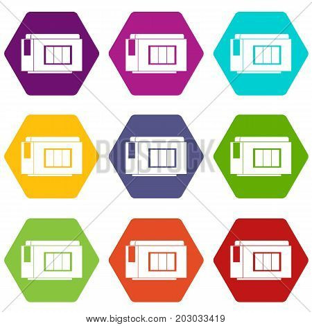 Inkjet printer cartridge icon set many color hexahedron isolated on white vector illustration
