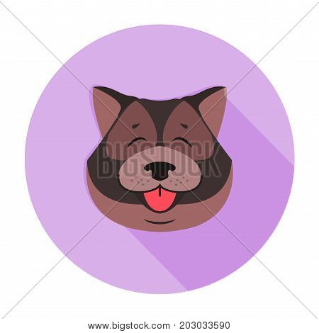 Doggy head of Tibetan mastiff close-up cartoon style on purple circle background. Canine furry head shows red tongue. Vector illustration of oldest working breeds of dogs. Graphic design art icon.