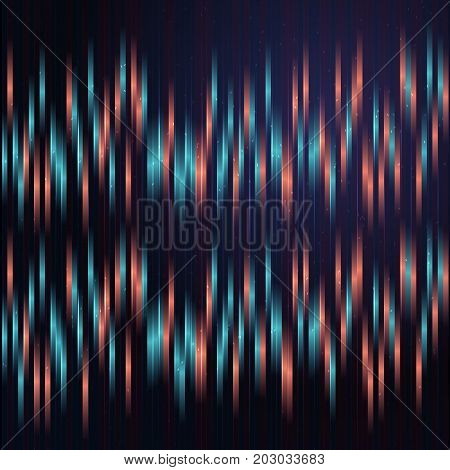 Anaglyph background with blue and red vertical lines. Minimalistic illustration with digital effect. Detailed background with lights and shadows.