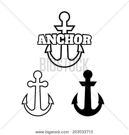 Anchor Icons. Vector Boat Anchors Isolated On White Background F