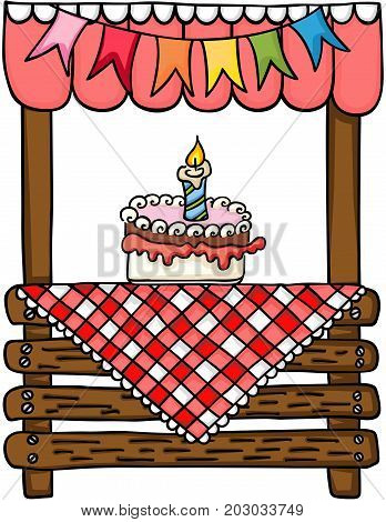 Scalable vectorial image representing a Birthday cake wooden stand for sale, isolated on white.