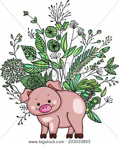 Scalable vectorial image representing a little pig with green weeds, isolated on white.