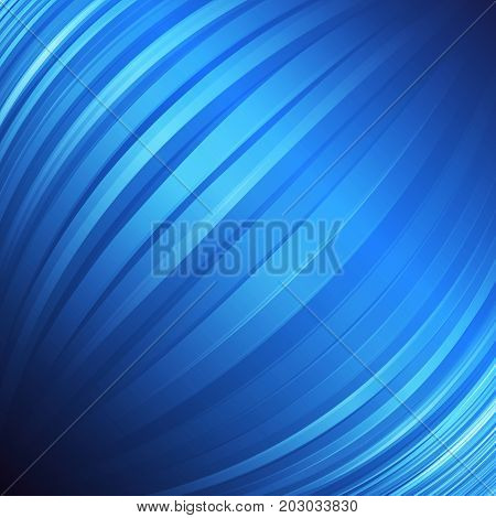 Spheric abstract blue background. Vertical lines in a spherical shape. Vector background with lights and shadows