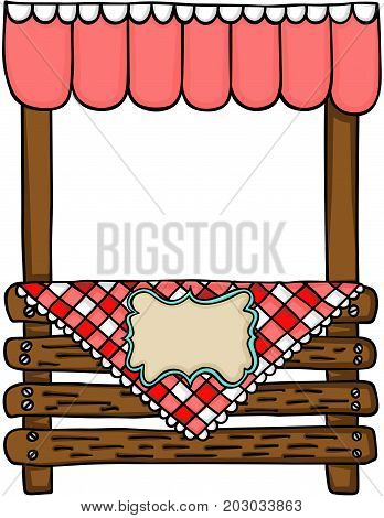 Scalable vectorial image representing a wooden stand for sale, isolated on white.