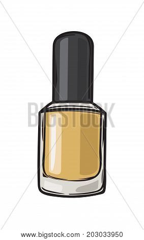 Gold nail varnish in bottle with black lid isolated on background. Fashionable and glamorous nail polish for elegant manicure vector illustration. Modern trendy beauty tool image.