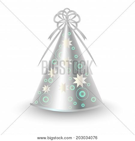 Brightly decorated with grey ribbon and starry pattern party hat. Shiny silver paper conical cap for festive costumes isolated vector illustration. Birthday or New Year party dressing accessory icon