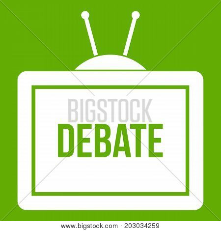 TV with the Debate inscription on the screen icon white isolated on green background. Vector illustration