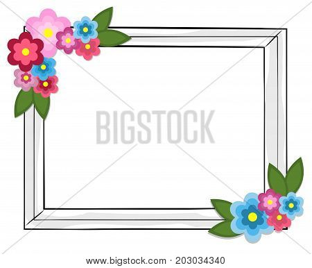 Rectangular photo frame with colorful flowers isolated on white background. Simple square shape frame with plants on blossom. Decorative framework vector illustrations in flat style design