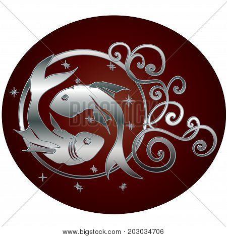 Pisces zodiac sign in circle frame, vector Illustration. Contour icon.