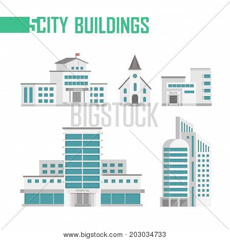 Five city buildings set of icons - vector illustration isolated on white background. School, church, fire department, hospital, skyscraper. Grey and blue color