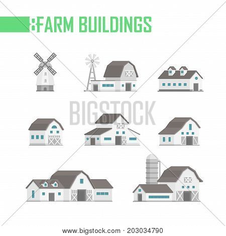 Five city buildings set of icons - vector illustration isolated on white background. Windmill, small cute houses with additions, garages, gates, different shapes. Grey roofs and blue windows