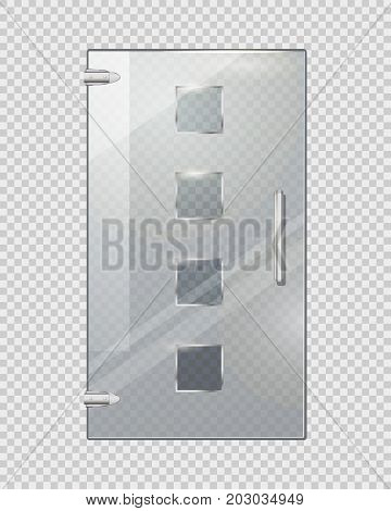Clear glass door isolated with four glassy squares, handle and two door hinges on transparent checkered background. Vector illustration of entrance element with decor for commercial buildings