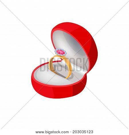 Engagement ring in red velvet box with big precious stone isolated on white background. Wedding accessory symbol of eternal love, unity and devotion. Vector illustration of proposal symbolic ring