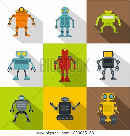 Technology robot icon set. Flat style set of 9 technology robot vector icons for web design