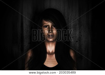 3d illustration of woman portrait being panic of scary thing from behind
