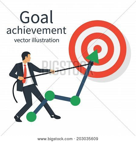 Goal achievement. Businessman pulls rope up arrow of chart. Increase sales. Ambition people business. Vector flat design. Isolated on white background. Aspiration to victory. Path graph to target.