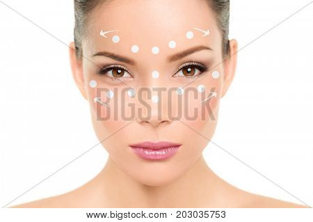 Beauty woman putting foundation makeup or face cream lotion. How to apply concealer technique demonstration.