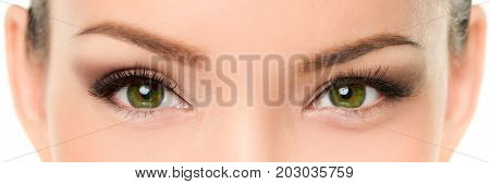 Green eyes Asian woman eyelashes makeup banner. Closeup of almond chinese eyes and eyebrows, with eyeshadow make-up and false eyelashes