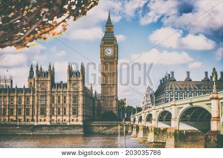 London Europe travel destination. Autumn scenery of Big Ben and Houses of parliament with Westminster bridge in London, England, Great Britain, UK.