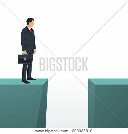 Gap on way to success. Business standing in front of abyss. Business challenge concept. Vector illustration flat design. Isolated on white background. Problem solving. Overcoming obstacles.