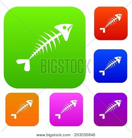 Fish bone set icon in different colors isolated vector illustration. Premium collection