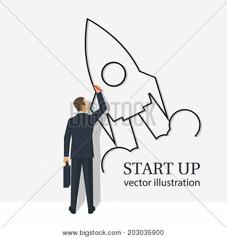 Start up template. Businessman draws flying rocket on wall. Symbol of start of project's launch. Vector illustration cartoon flat design. Isolated on white background. Business metaphor.
