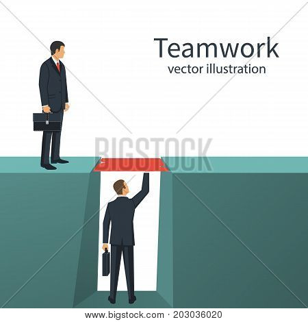 Teamwork concept. Business metaphor. Two businessmen solved the problem of overcoming the abyss. Vector illustration flat style design. Symbol of working together, cooperation, partnership.
