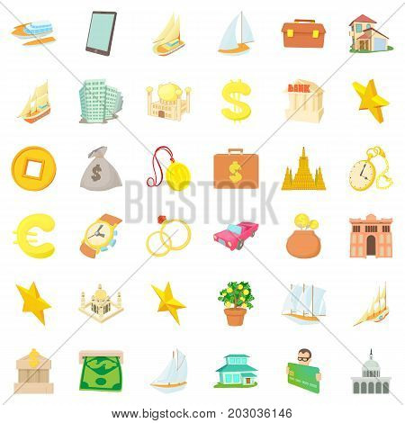 Wealth icons set. Cartoon style of 36 wealth vector icons for web isolated on white background