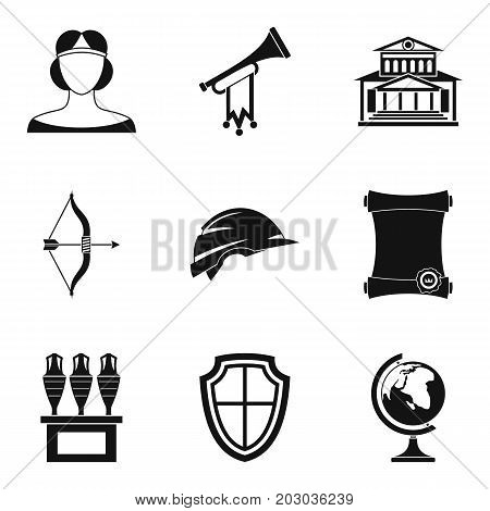 Middle age icons set. Simple set of 9 middle age icons for web isolated on white background