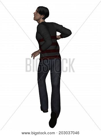 3d rendering of a man running away from something scary