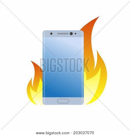 Modern smartphone under fire icon. Burn battery cell phone. Bad quality. Danger device simple gradient symbol.