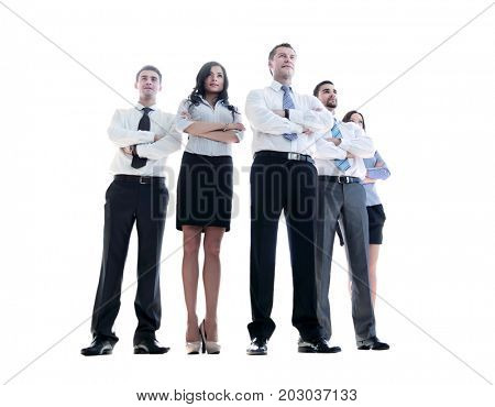 Smiling and confident business team standing isolated on white