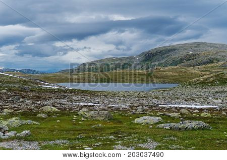 Mountain landscape along the National tourist route Aurlandstjellet. Flotane. Western Norway