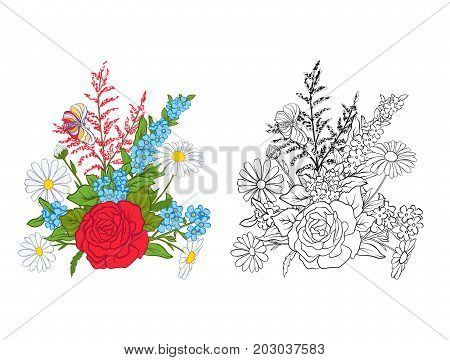 Bouquet with roses and daisies. Traditional European pattern. Stock line vector illustration. Outline hand drawing coloring page for adult coloring book with colored sample